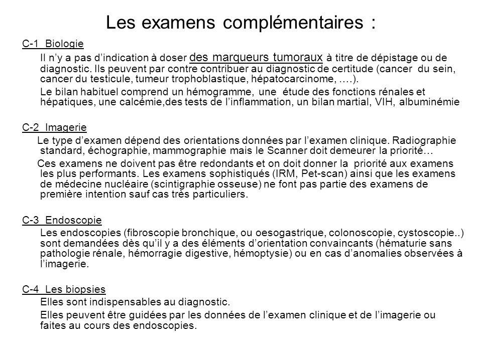 Les examens complémentaires : C-1 Biologie Il ny a pas dindication à doser des marqueurs tumoraux à titre de dépistage ou de diagnostic. Ils peuvent p