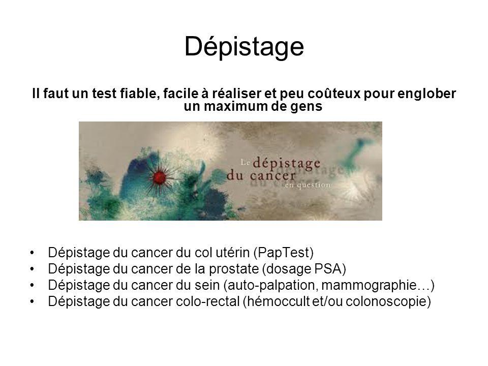 Dépistage Il faut un test fiable, facile à réaliser et peu coûteux pour englober un maximum de gens Dépistage du cancer du col utérin (PapTest) Dépist