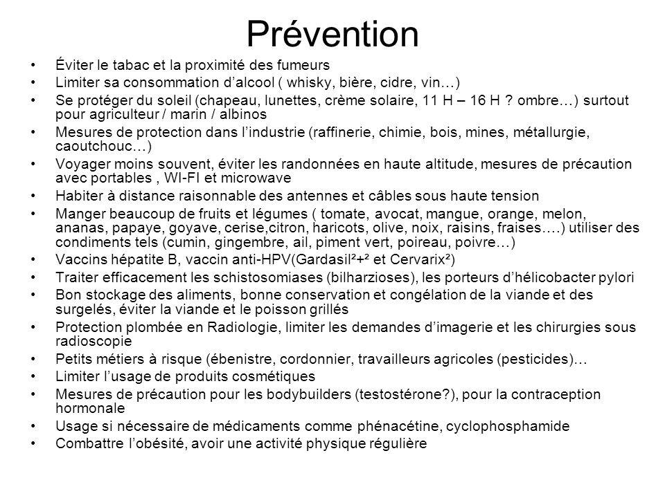 Prévention Éviter le tabac et la proximité des fumeurs Limiter sa consommation dalcool ( whisky, bière, cidre, vin…) Se protéger du soleil (chapeau, l