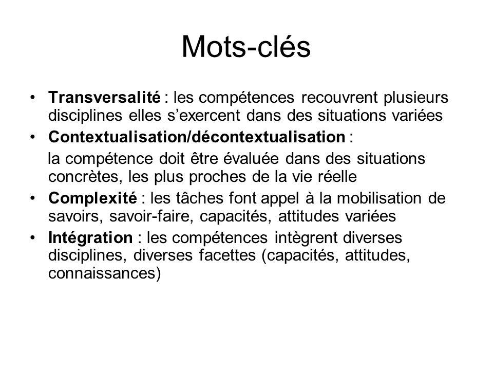 Mots-clés Transversalité : les compétences recouvrent plusieurs disciplines elles sexercent dans des situations variées Contextualisation/décontextual