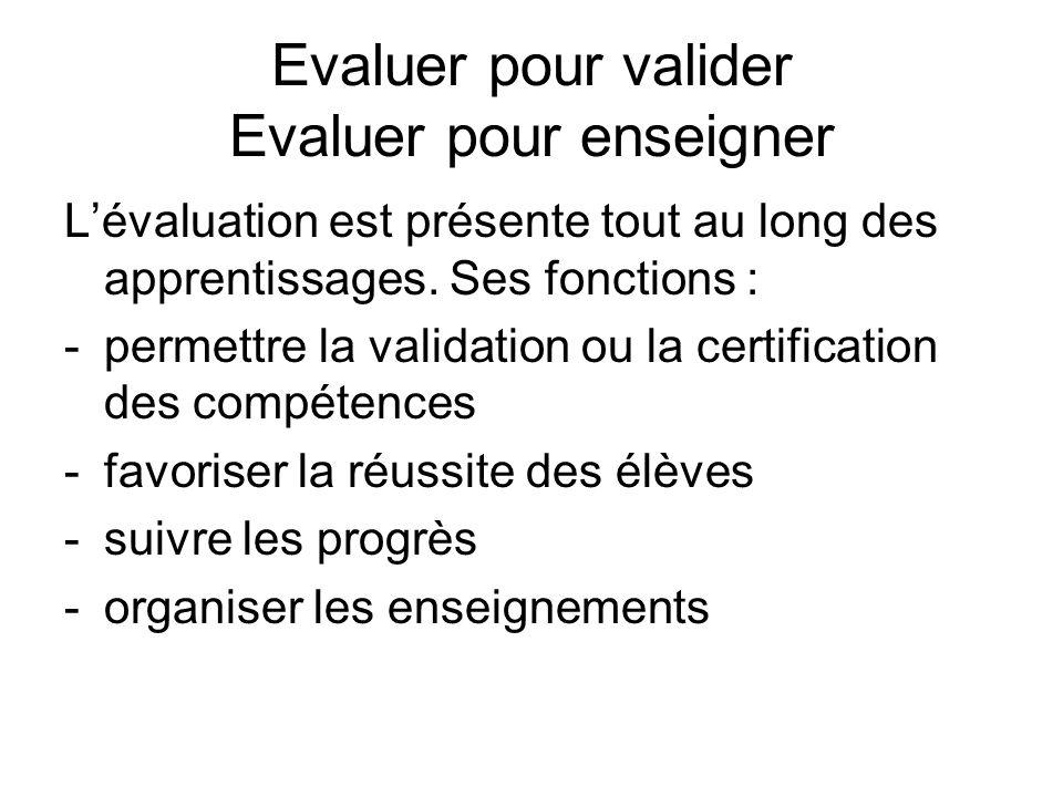 Evaluer pour valider Evaluer pour enseigner Lévaluation est présente tout au long des apprentissages. Ses fonctions : -permettre la validation ou la c