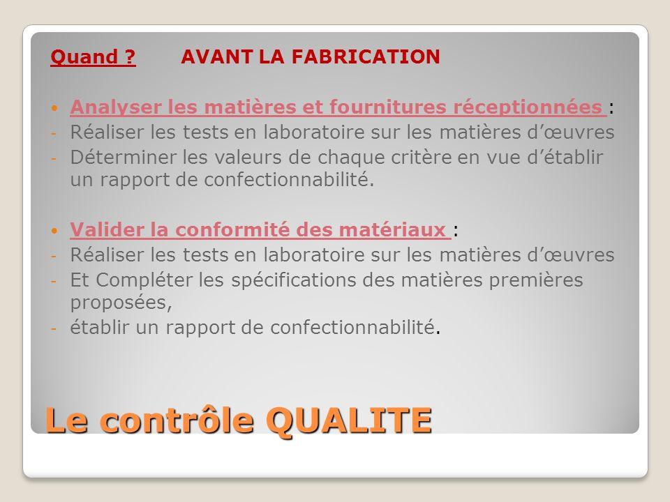 Thème : PARKA EOLE On demande : -D-De contrôler la conformité des matériaux reçus, -D-De comparer les résultats au cahier des charges, -D-Détablir un rapport de confectionnabilité.