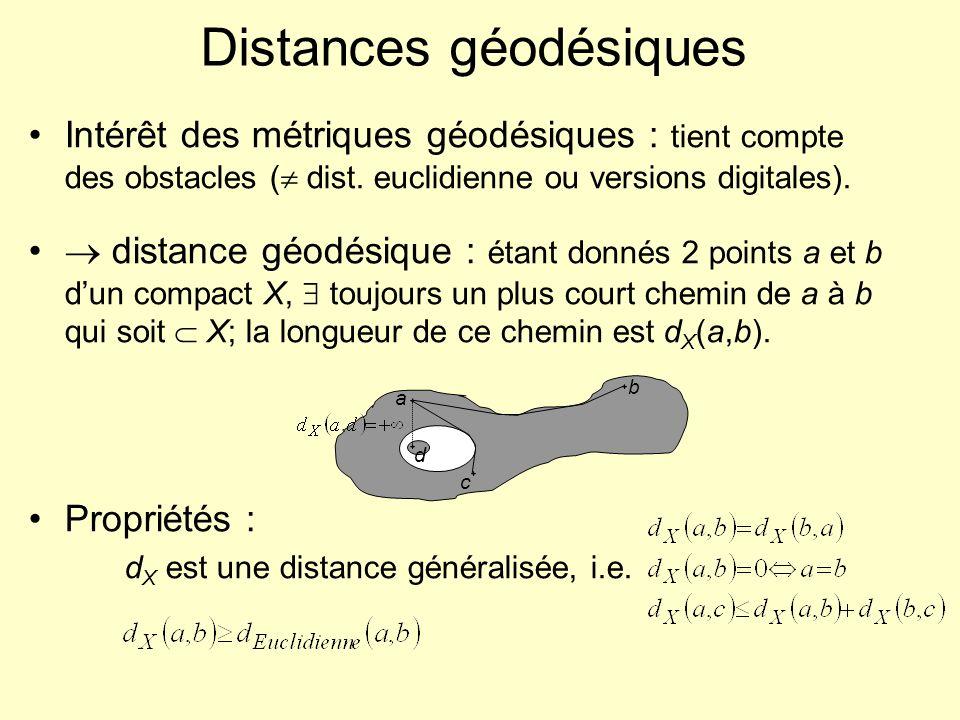 Distances géodésiques Intérêt des métriques géodésiques : tient compte des obstacles ( dist. euclidienne ou versions digitales). distance géodésique :