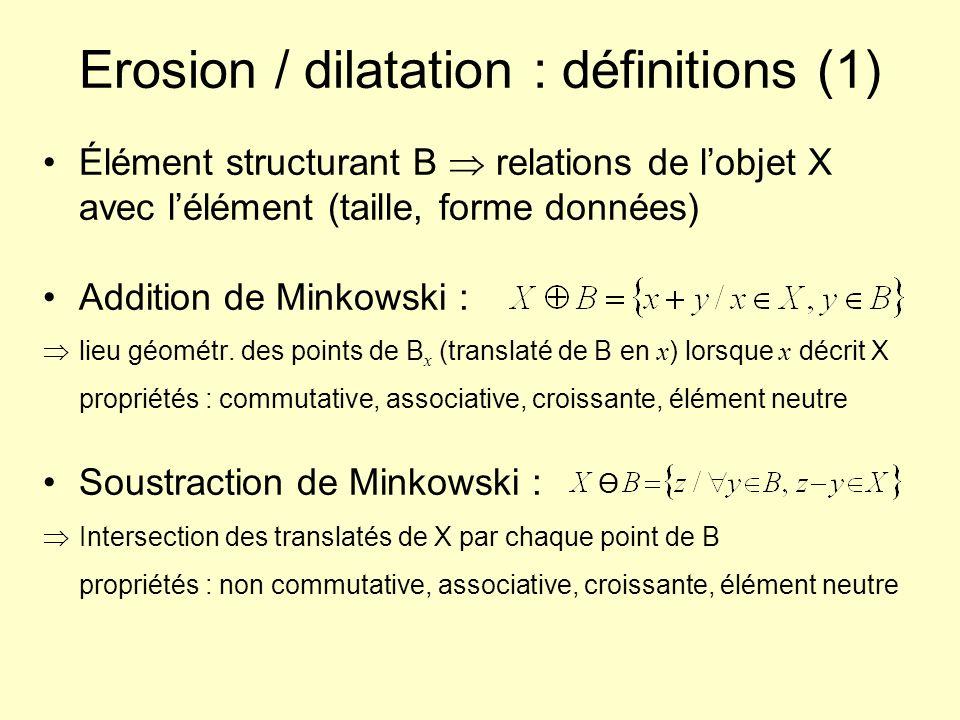 Erosion / dilatation : définitions (1) Élément structurant B relations de lobjet X avec lélément (taille, forme données) Addition de Minkowski : lieu