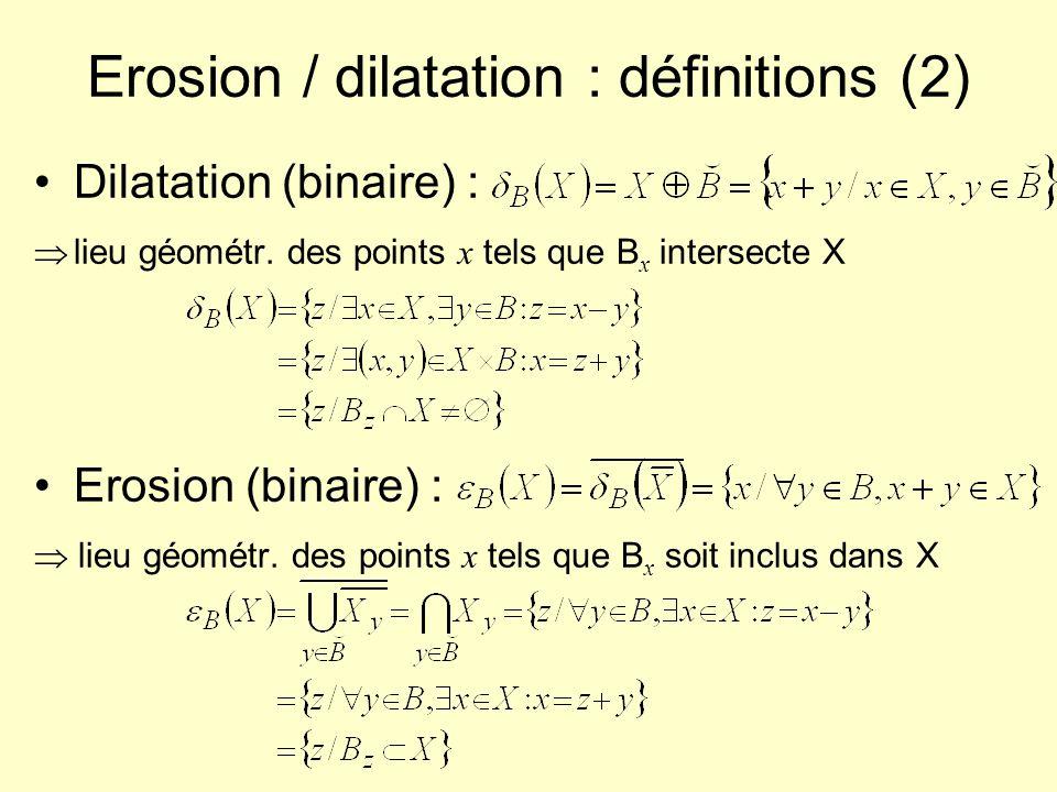 Erosion / dilatation : définitions (2) Dilatation (binaire) : lieu géométr. des points x tels que B x intersecte X Erosion (binaire) : lieu géométr. d