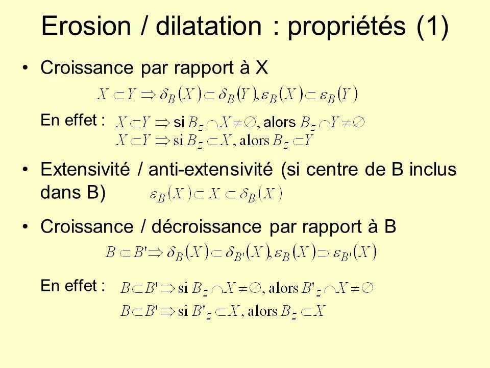 Erosion / dilatation : propriétés (1) Croissance par rapport à X En effet : Extensivité / anti-extensivité (si centre de B inclus dans B) Croissance /