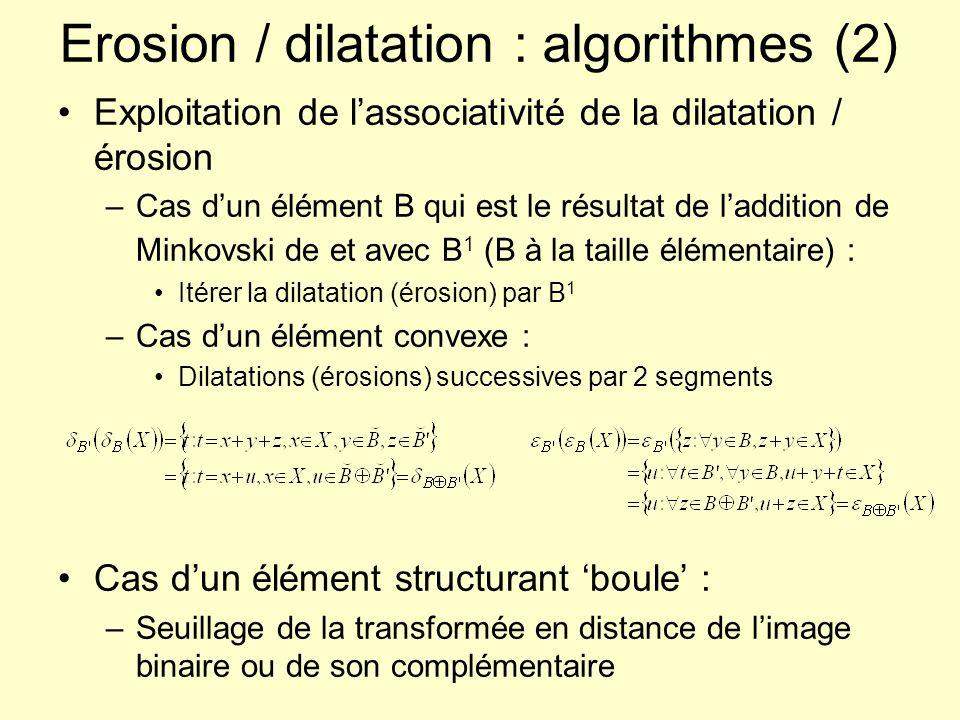 Erosion / dilatation : algorithmes (2) Exploitation de lassociativité de la dilatation / érosion –Cas dun élément B qui est le résultat de laddition d
