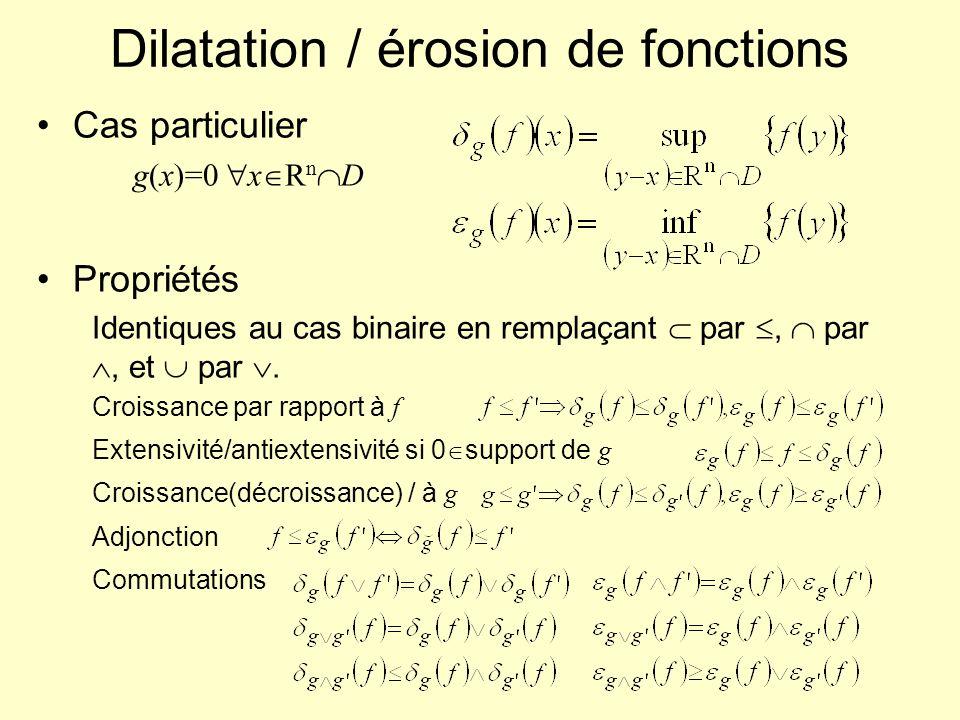 Dilatation / érosion de fonctions Cas particulier g(x)=0 x R n D Propriétés Identiques au cas binaire en remplaçant par, par, et par. Croissance par r