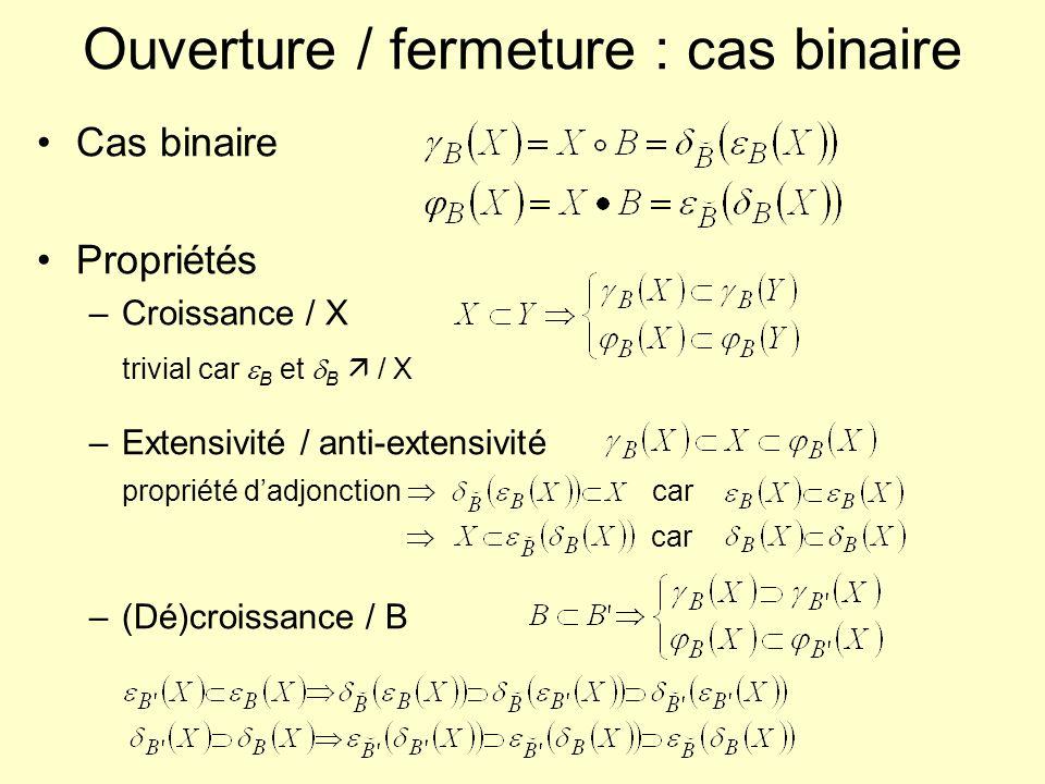 Ouverture / fermeture : cas binaire Cas binaire Propriétés –Croissance / X trivial car B et B / X –Extensivité / anti-extensivité propriété dadjonctio