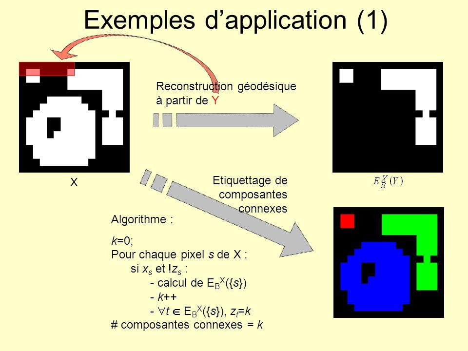 X Exemples dapplication (1) Reconstruction géodésique à partir de Y Algorithme : k=0; Pour chaque pixel s de X : si x s et !z s : - calcul de E B X ({