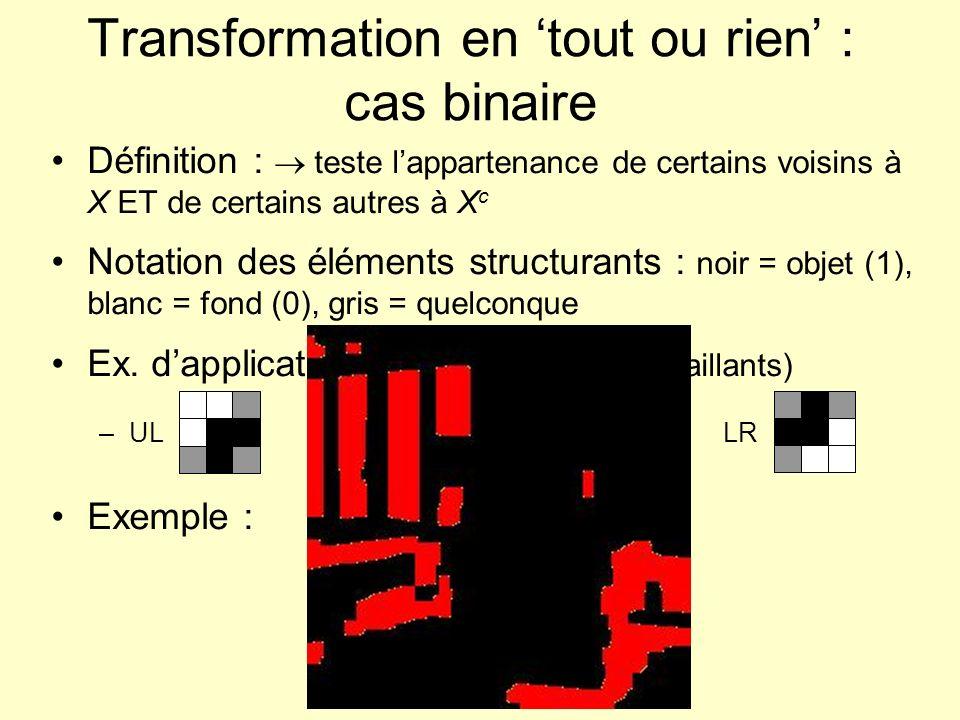 Transformation en tout ou rien : cas binaire Définition : teste lappartenance de certains voisins à X ET de certains autres à X c Notation des élément