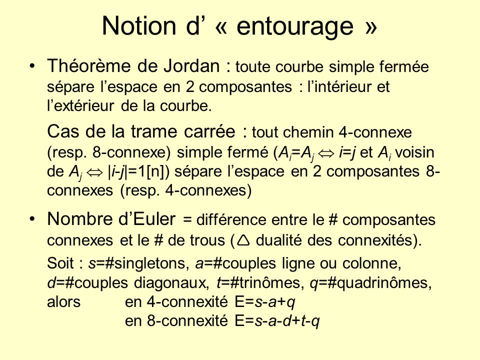 Exemple : nombre dEuler Cas 4-connexe : # composantes 4-connexes = 3 # de trous (8-connexes) = 1 E 4 =2 Cas 8-connexe : # composantes 8-connexes = 1 # de trous (4-connexes) = 2 E 8 =-1 s=16, a=14, d=13, t=10, q=0 En 4-connexité E 4 =s-a+q=2 En 8-connexité E 8 =s-a-d+t-q=-1