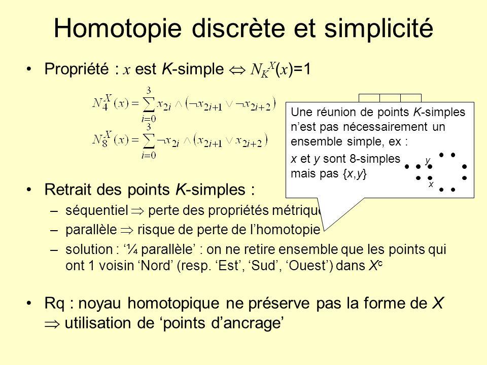 Homotopie discrète et simplicité Propriété : x est K-simple N K X ( x )=1 Retrait des points K-simples : –séquentiel perte des propriétés métriques, –