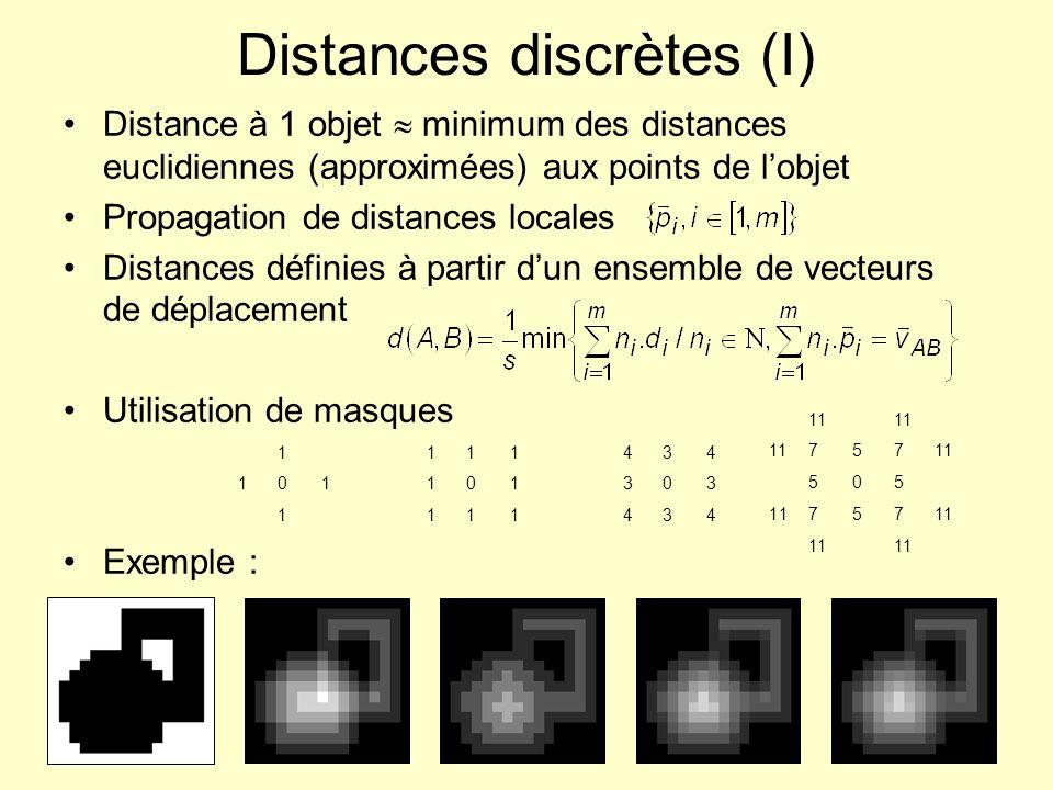 Distances discrètes (II) Partition du masque en 2 sous-masques g 1 et g 2 causaux UL LR et LR UL Algorithme de calcul séquentiel 1) Poser 2) f 0 image / points de lobjet 0 et les autres + 3) pour k =1,2 si k =1, balayer limage dans le sens UL LR si k =2, balayer limage dans le sens LR UL 4) image des distances f 2 434303434434303434