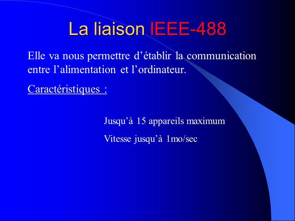 La liaison IEEE-488 Elle va nous permettre détablir la communication entre lalimentation et lordinateur. Caractéristiques : Jusquà 15 appareils maximu