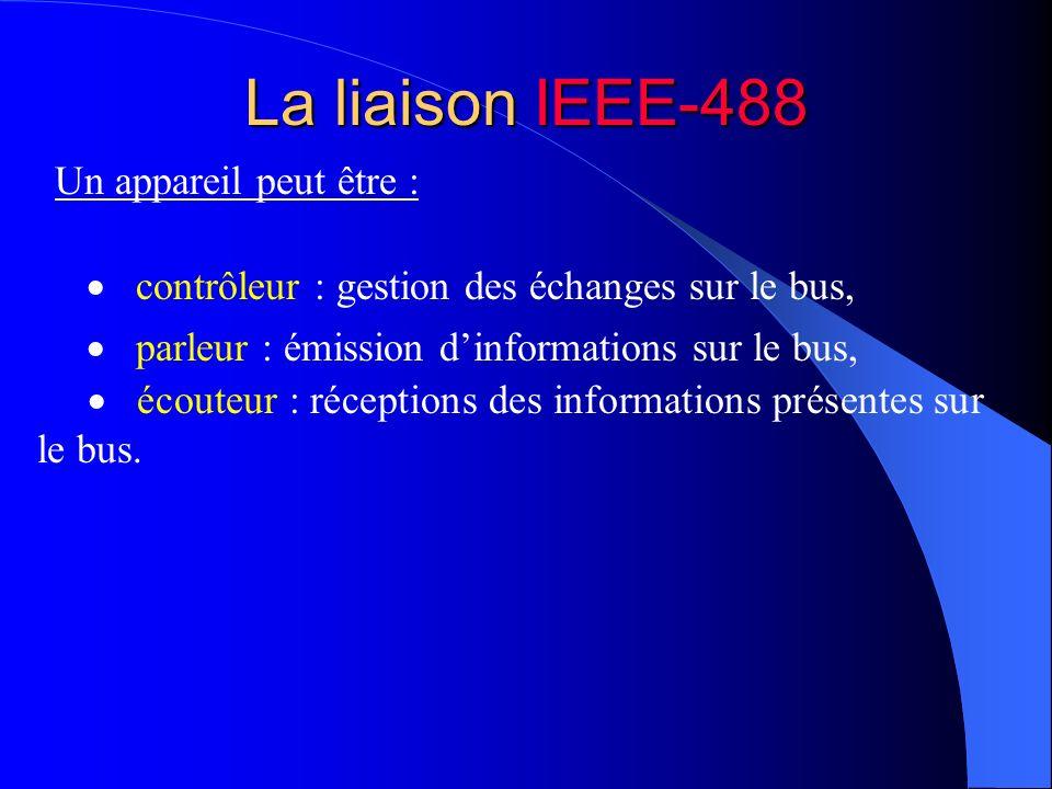 La liaison IEEE-488 écouteur : réceptions des informations présentes sur le bus. Un appareil peut être : parleur : émission dinformations sur le bus,