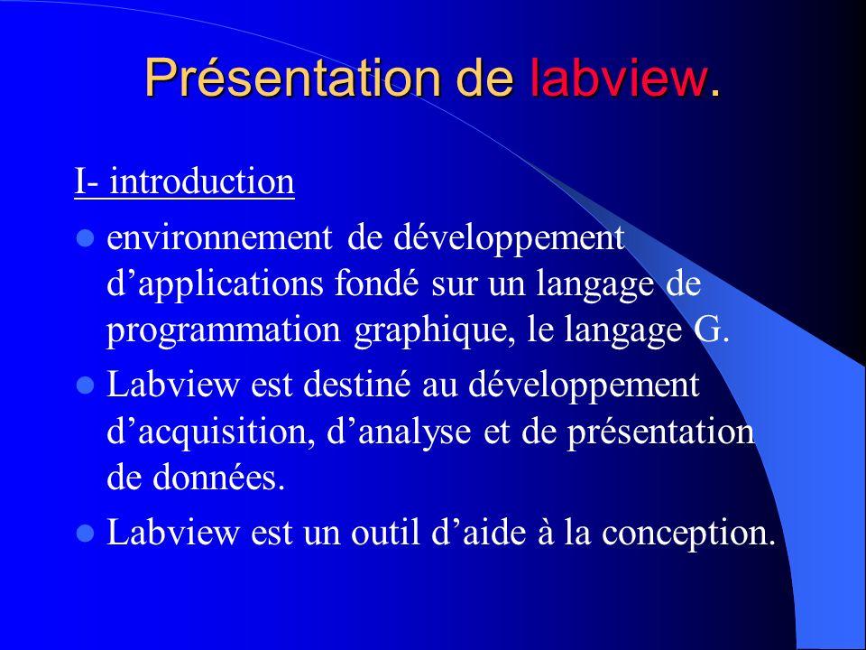 Présentation de labview. I- introduction environnement de développement dapplications fondé sur un langage de programmation graphique, le langage G. L