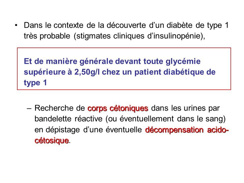 Diagnostic Profil clinique - Sujet jeune (<20ans) - Pas dATCD familial de diabète - Clinique dapparition brutale - Possibilité dautres maladies auto-immunes Examens biologiques (1ère intention) - Glycémie à jeun à 2 reprises > 1,26 g/l (7 mmol/l) - Glycosurie et cétonurie + Examens biologiques (2nd intention) - Auto anticorps anti GAD, anti IA2, anti-cellules dilôt, anti- insuline (en cas de doute sur létiologie du diabète) Prise en charge - Recherche de maladie auto-immune associée : dosage de TSH, danticorps anti-transglutaminase - Dosage HbA1c, bilan rénal (clairance créatinine, microalbuminurie), bilan lipidique - Information détaillée + exploration ophtalmologique, dentaire, cardio-vasculaire, neurologique …