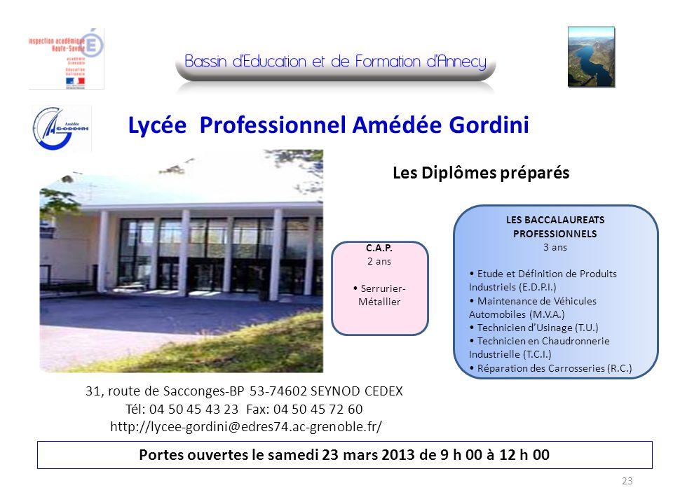 31, route de Sacconges-BP 53-74602 SEYNOD CEDEX Tél: 04 50 45 43 23 Fax: 04 50 45 72 60 http://lycee-gordini@edres74.ac-grenoble.fr/ Portes ouvertes l
