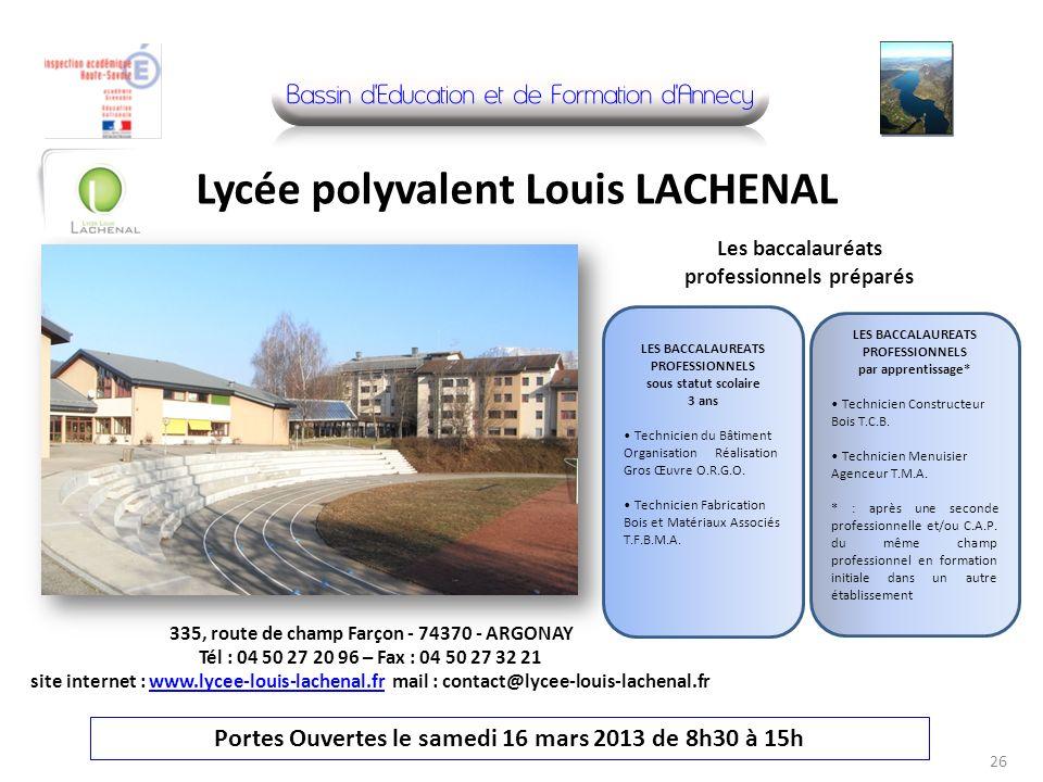 335, route de champ Farçon - 74370 - ARGONAY Tél : 04 50 27 20 96 – Fax : 04 50 27 32 21 site internet : www.lycee-louis-lachenal.fr mail : contact@ly