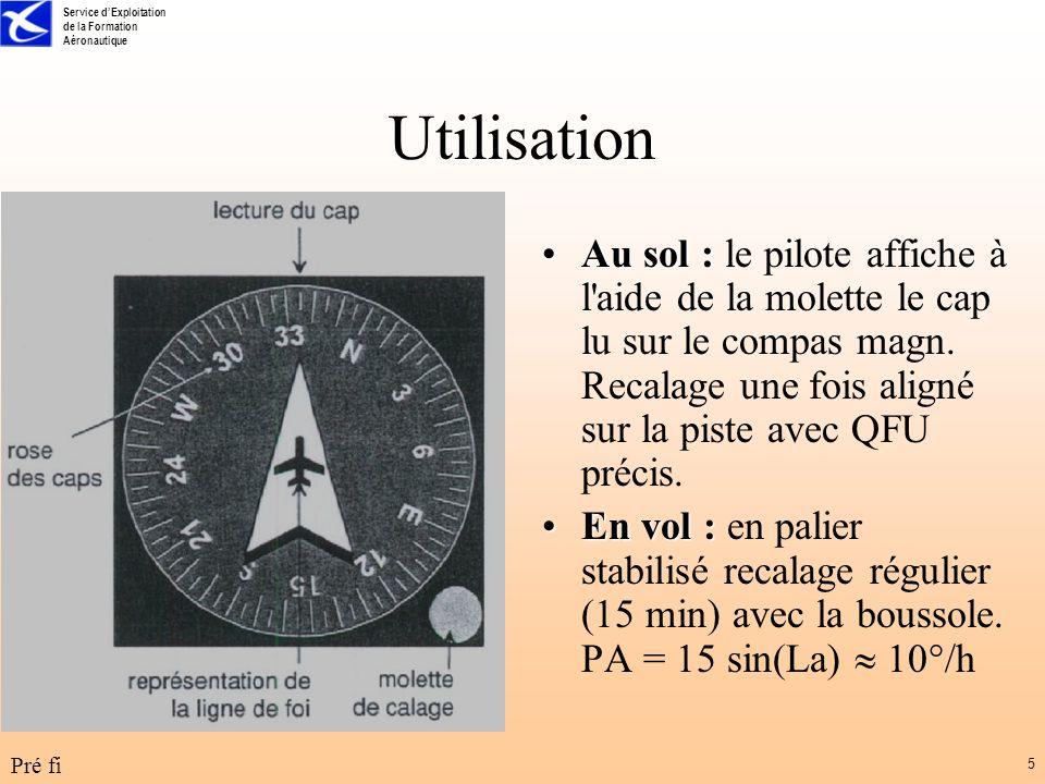 Service dExploitation de la Formation Aéronautique Pré fi 5 Utilisation Au sol :Au sol : le pilote affiche à l'aide de la molette le cap lu sur le com