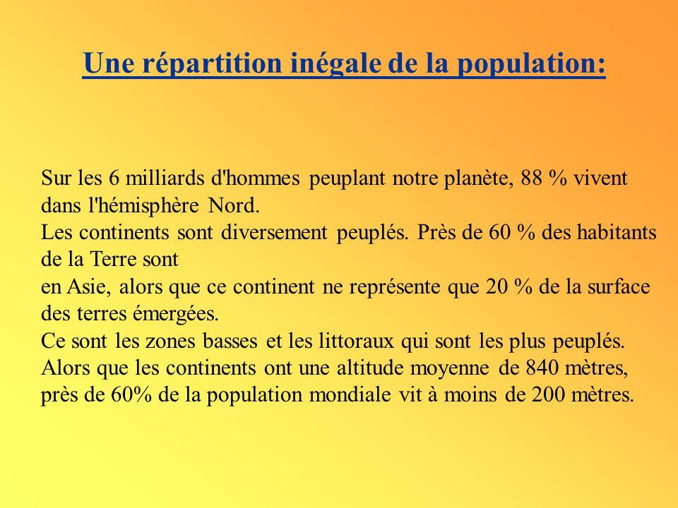 Une répartition inégale de la population: Sur les 6 milliards d'hommes peuplant notre planète, 88 % vivent dans l'hémisphère Nord. Les continents sont