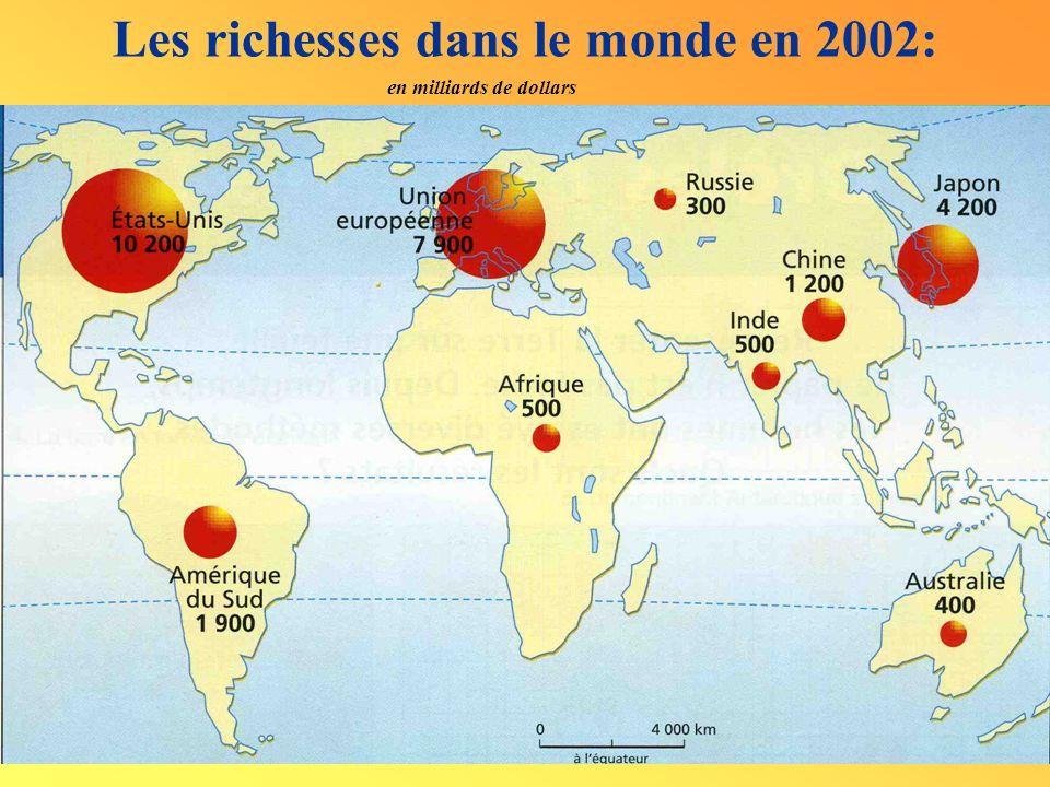 en milliards de dollars Les richesses dans le monde en 2002: