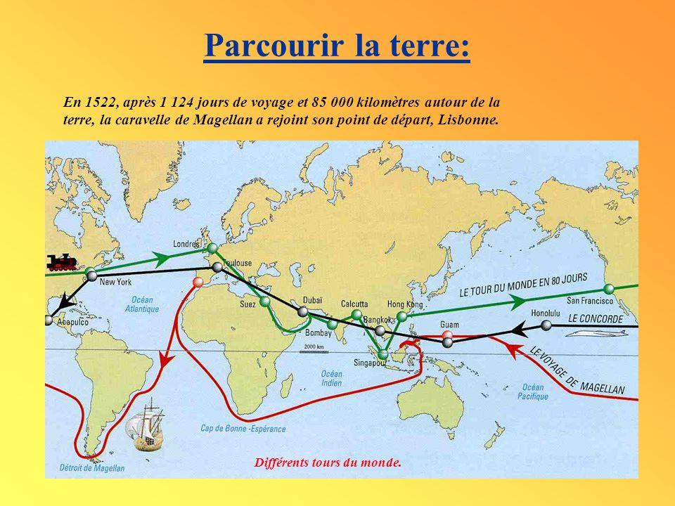 Parcourir la terre: Différents tours du monde. En 1522, après 1 124 jours de voyage et 85 000 kilomètres autour de la terre, la caravelle de Magellan