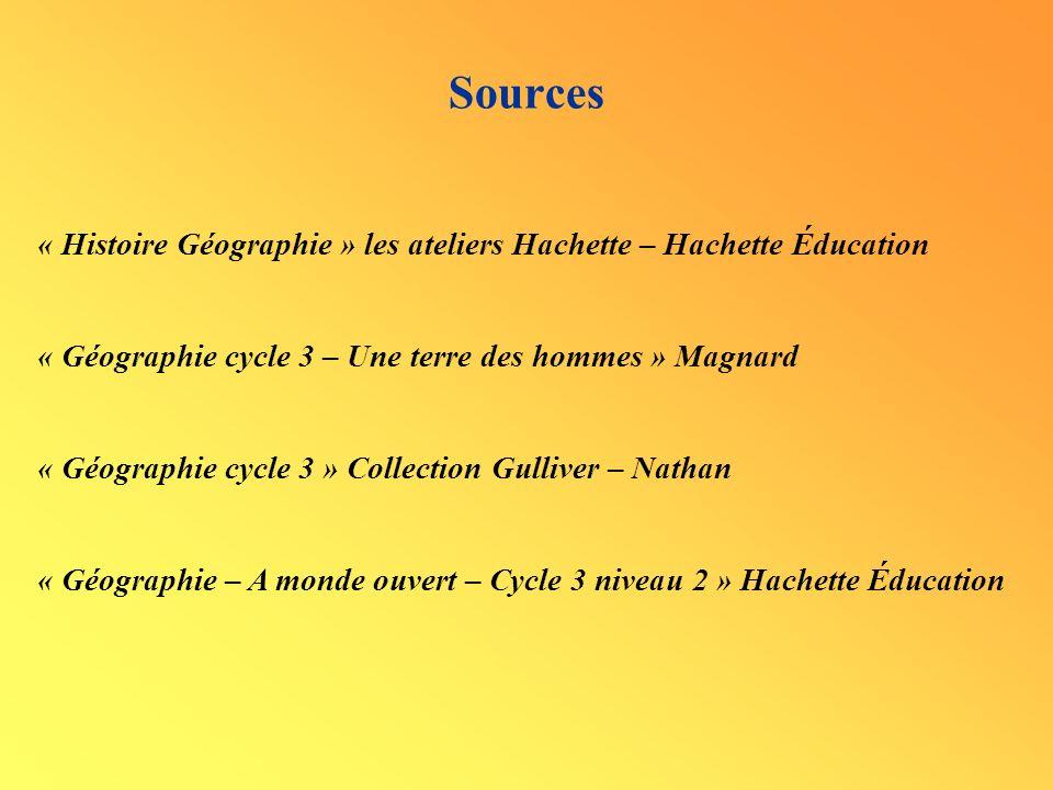 Sources « Histoire Géographie » les ateliers Hachette – Hachette Éducation « Géographie cycle 3 – Une terre des hommes » Magnard « Géographie cycle 3