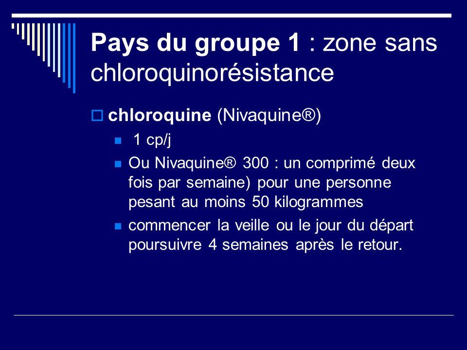 Pays du groupe 1 : zone sans chloroquinorésistance chloroquine (Nivaquine®) 1 cp/j Ou Nivaquine® 300 : un comprimé deux fois par semaine) pour une per