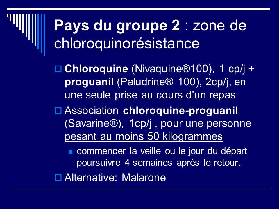 Pays du groupe 2 : zone de chloroquinorésistance Chloroquine (Nivaquine®100), 1 cp/j + proguanil (Paludrine® 100), 2cp/j, en une seule prise au cours