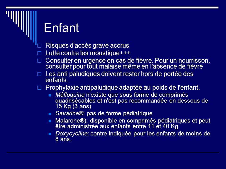 Enfant Risques d'accès grave accrus Lutte contre les moustique+++ Consulter en urgence en cas de fièvre. Pour un nourrisson, consulter pour tout malai