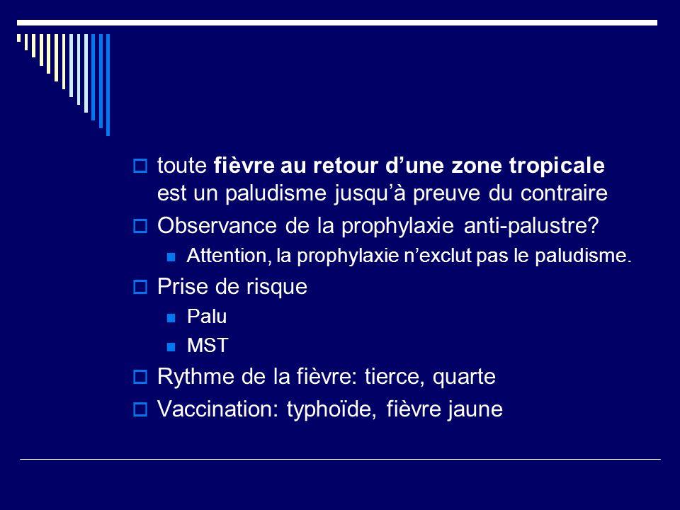 toute fièvre au retour dune zone tropicale est un paludisme jusquà preuve du contraire Observance de la prophylaxie anti-palustre? Attention, la proph