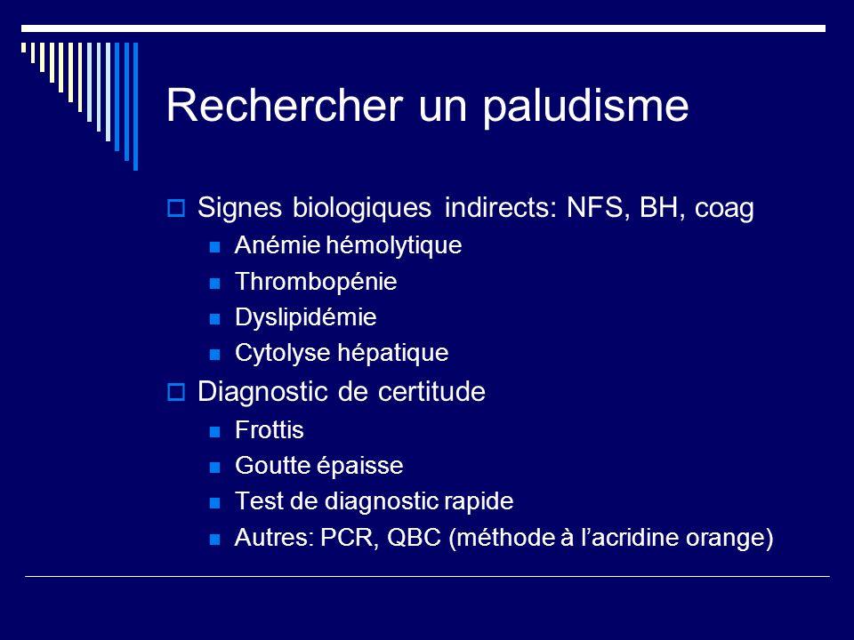 Rechercher un paludisme Signes biologiques indirects: NFS, BH, coag Anémie hémolytique Thrombopénie Dyslipidémie Cytolyse hépatique Diagnostic de cert