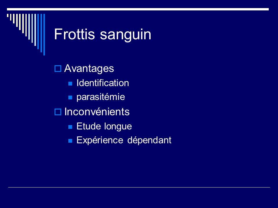 Frottis sanguin Avantages Identification parasitémie Inconvénients Etude longue Expérience dépendant