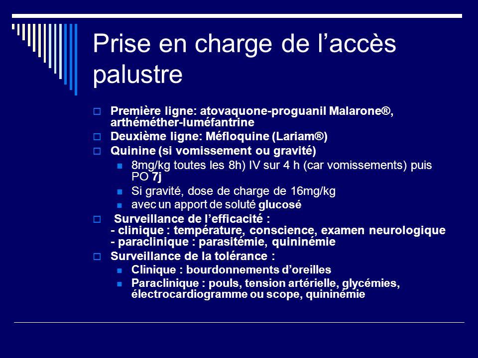 Prise en charge de laccès palustre Première ligne: atovaquone-proguanil Malarone®, arthéméther-luméfantrine Deuxième ligne: Méfloquine (Lariam®) Quini
