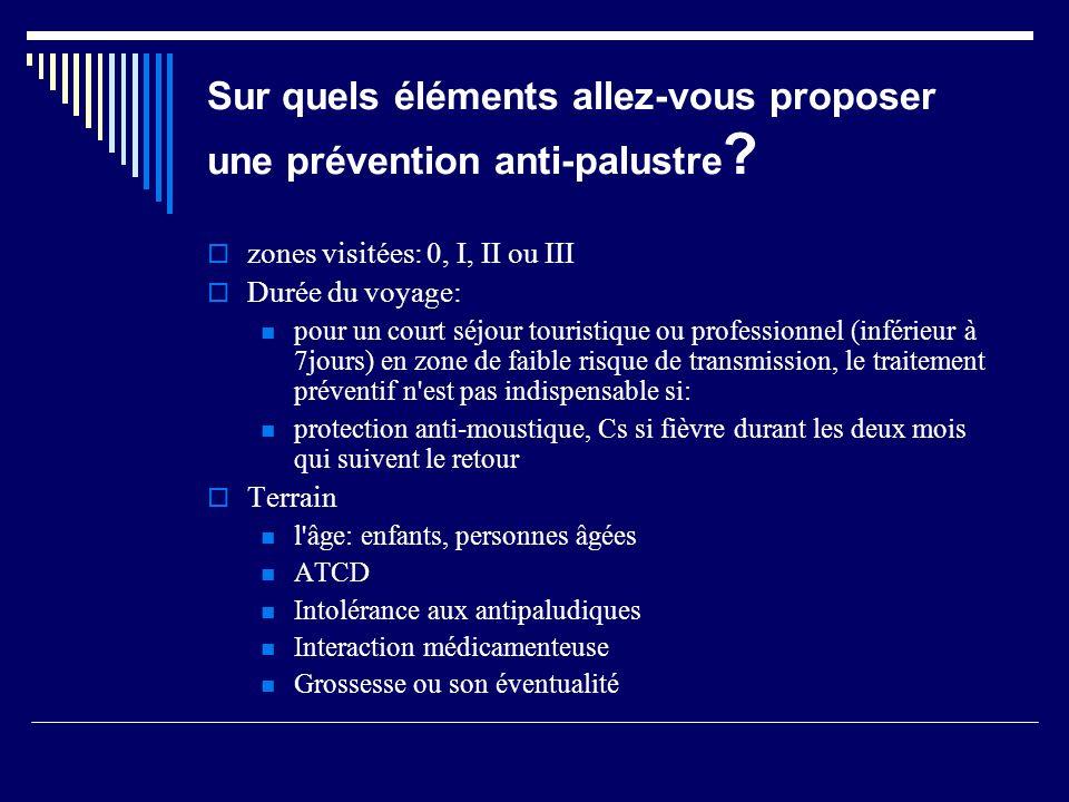 En dehors de la chimio- prophylaxie, quelles autres mesures proposez-vous pour lutter contre le risque de paludisme?