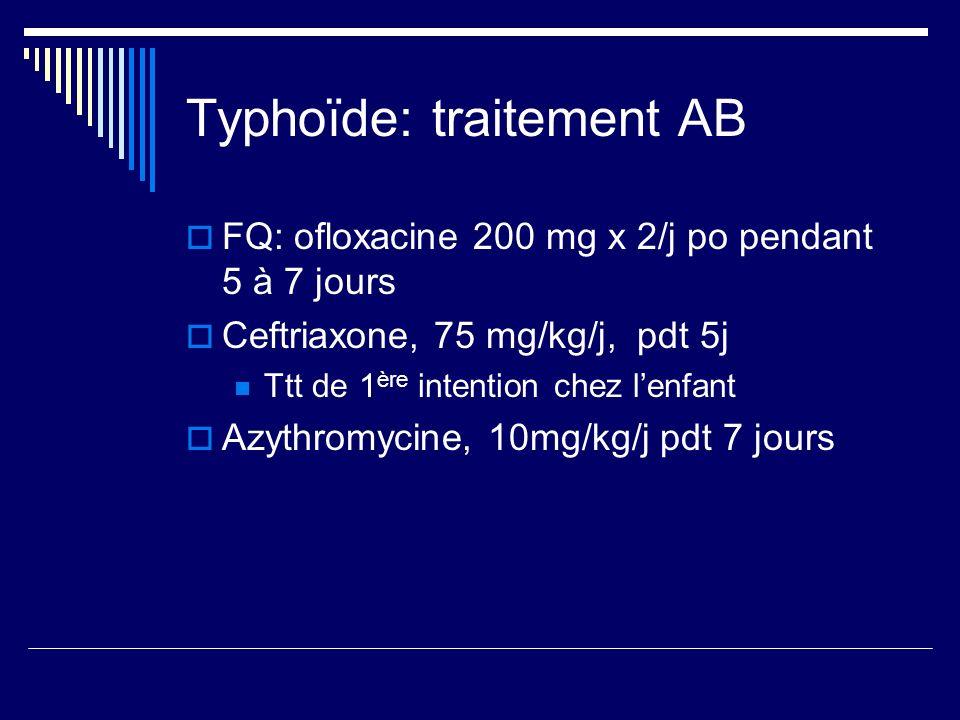 Typhoïde: traitement AB FQ: ofloxacine 200 mg x 2/j po pendant 5 à 7 jours Ceftriaxone, 75 mg/kg/j, pdt 5j Ttt de 1 ère intention chez lenfant Azythro
