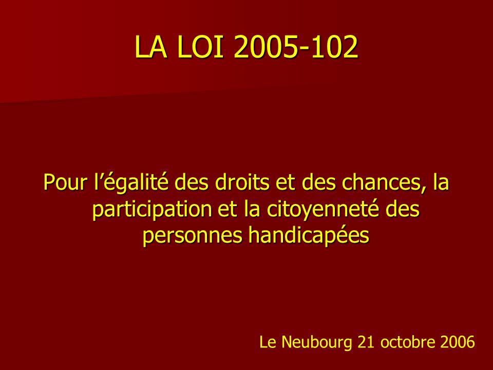 LA LOI 2005-102 Pour légalité des droits et des chances, la participation et la citoyenneté des personnes handicapées Le Neubourg 21 octobre 2006