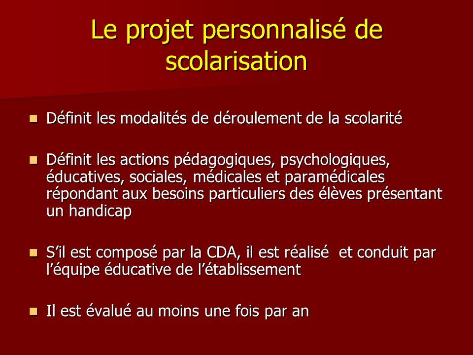 Le projet personnalisé de scolarisation Définit les modalités de déroulement de la scolarité Définit les modalités de déroulement de la scolarité Défi