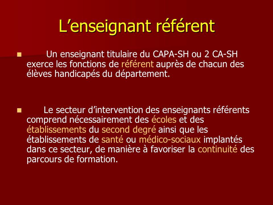 Lenseignant référent Un enseignant titulaire du CAPA-SH ou 2 CA-SH exerce les fonctions de référent auprès de chacun des élèves handicapés du départem