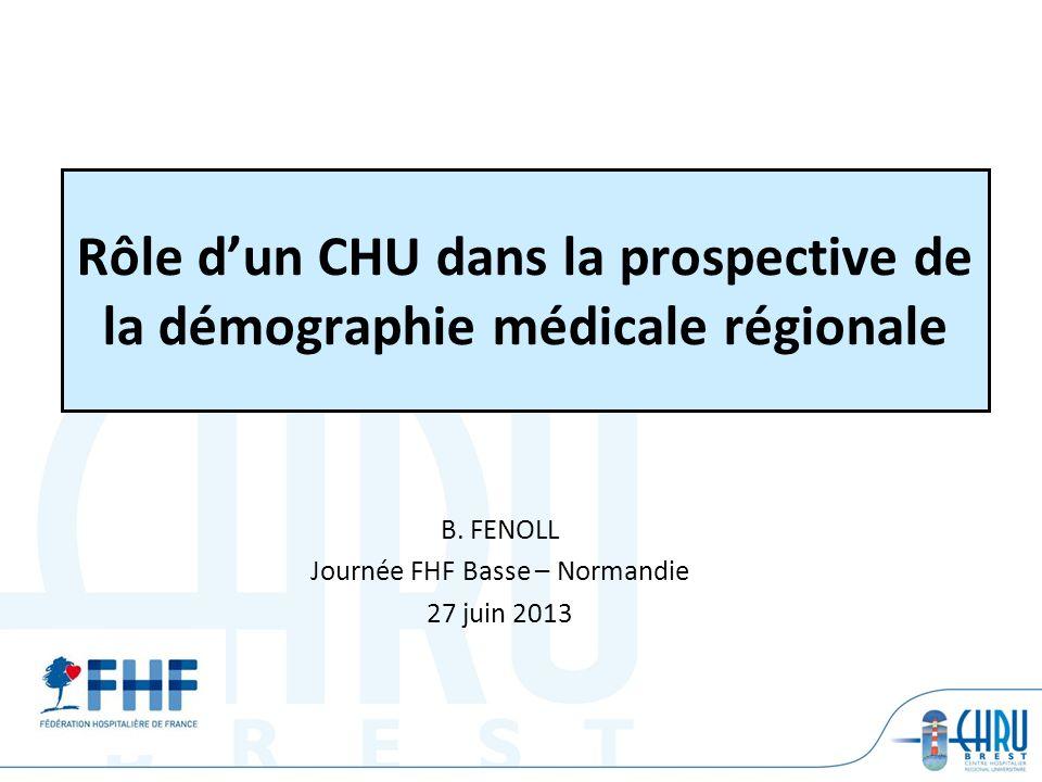 Rôle dun CHU dans la prospective de la démographie médicale régionale B. FENOLL Journée FHF Basse – Normandie 27 juin 2013