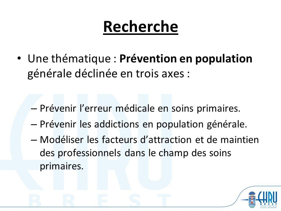 Recherche Une thématique : Prévention en population générale déclinée en trois axes : – Prévenir lerreur médicale en soins primaires. – Prévenir les a