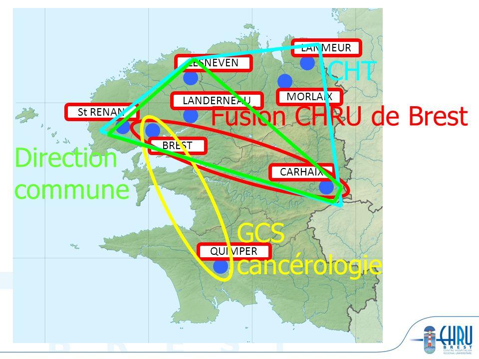 BREST LANDERNEAU LESNEVEN QUIMPER CARHAIX MORLAIX LANMEUR St RENAN Fusion CHRU de Brest Direction commune GCS cancérologie CHT