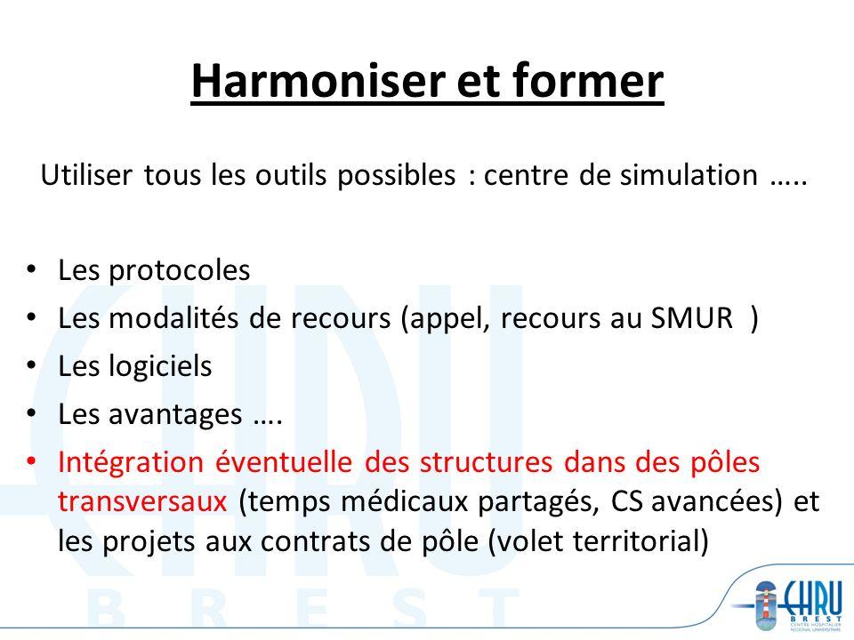 Harmoniser et former Utiliser tous les outils possibles : centre de simulation ….. Les protocoles Les modalités de recours (appel, recours au SMUR ) L
