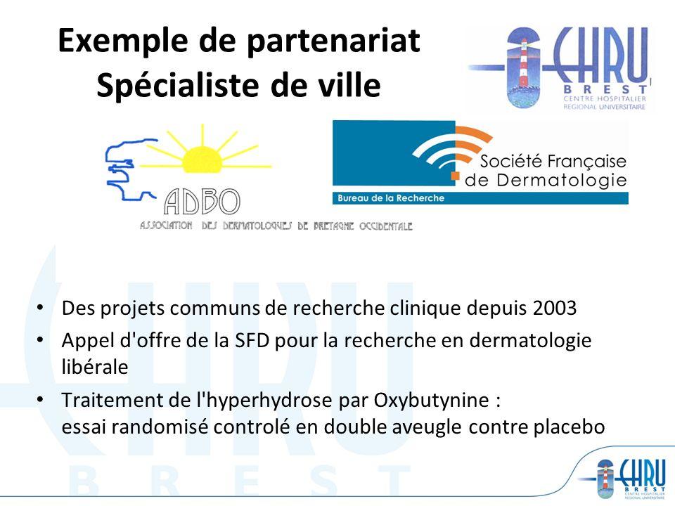 Exemple de partenariat Spécialiste de ville Des projets communs de recherche clinique depuis 2003 Appel d'offre de la SFD pour la recherche en dermato