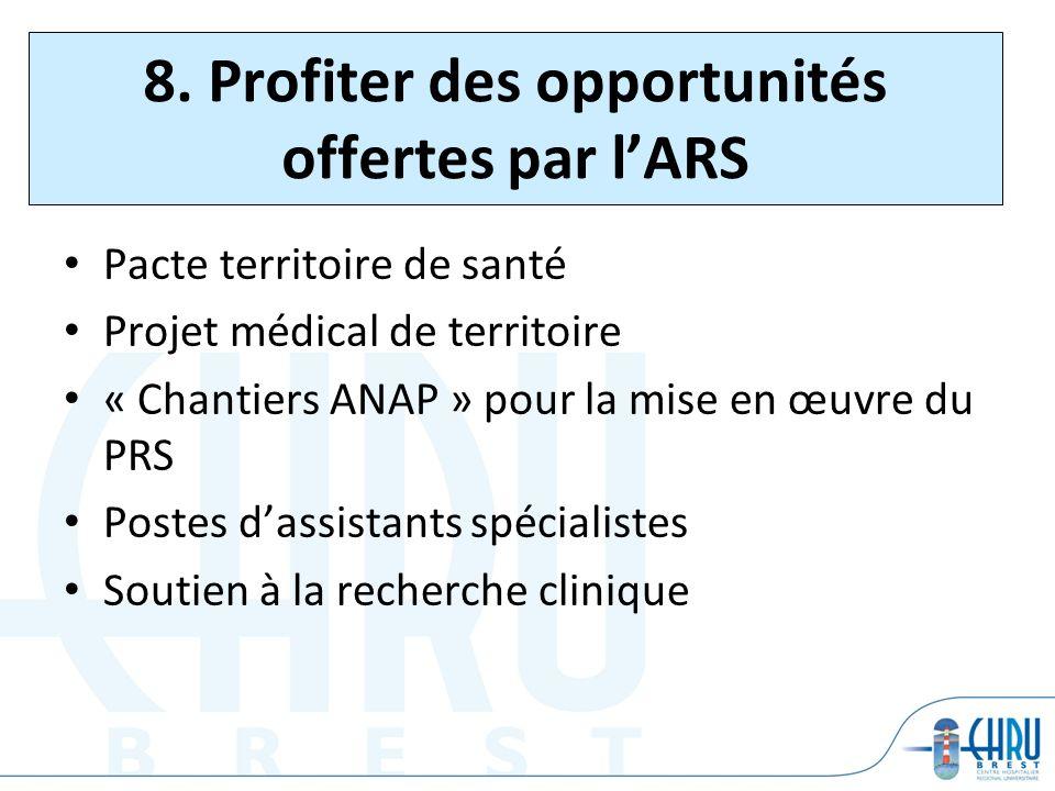 8. Profiter des opportunités offertes par lARS Pacte territoire de santé Projet médical de territoire « Chantiers ANAP » pour la mise en œuvre du PRS