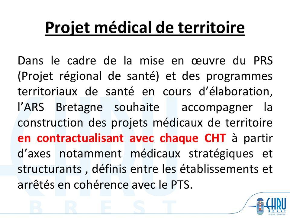 Projet médical de territoire Dans le cadre de la mise en œuvre du PRS (Projet régional de santé) et des programmes territoriaux de santé en cours déla