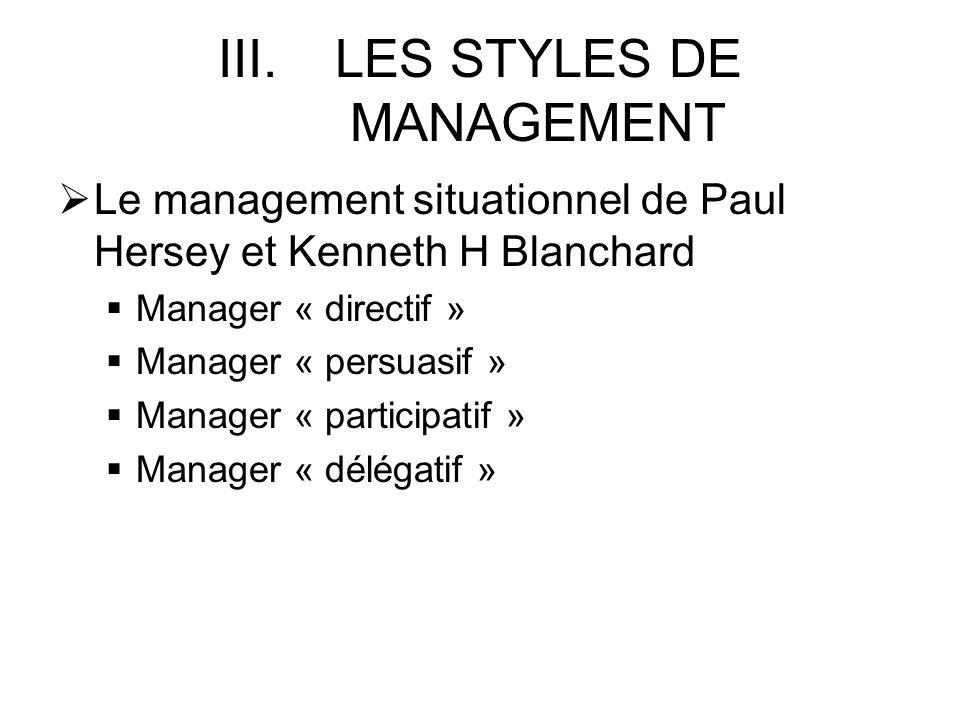 III.LES STYLES DE MANAGEMENT Le management situationnel de Paul Hersey et Kenneth H Blanchard Manager « directif » Manager « persuasif » Manager « par