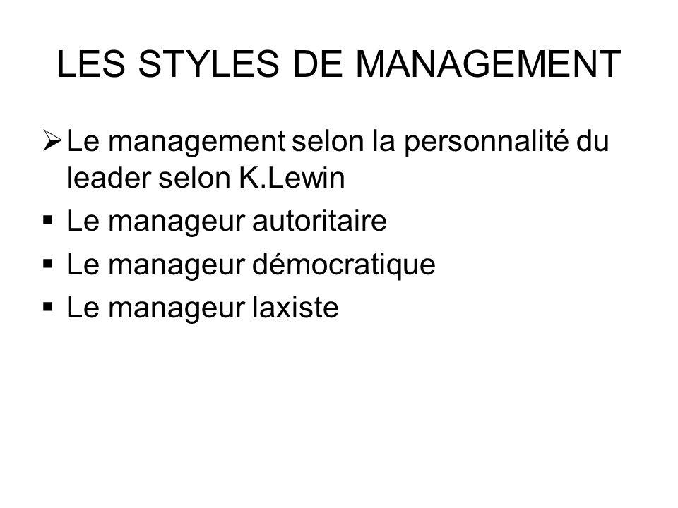 LES STYLES DE MANAGEMENT Le management selon la personnalité du leader selon K.Lewin Le manageur autoritaire Le manageur démocratique Le manageur laxi